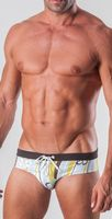 Geronimo Mens Swimwear Striped Low Rise Brief Trunks White Green 15032